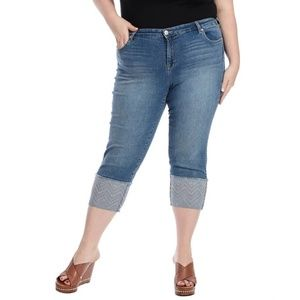 Style & Co Aztec Cuffed Denim Capri 18W
